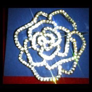 Rhinestone Rose 🌹 Pin with Dozens of Rhinestones